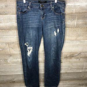Liverpool distressed dark wash boyfriend jeans